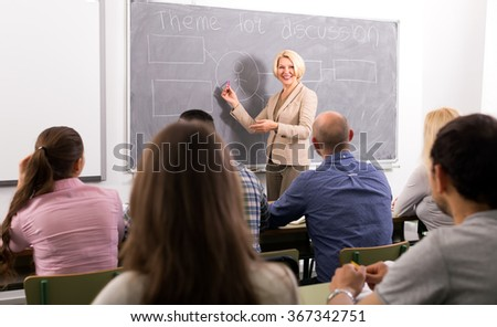 Professor teaching empoyees of different companies at refresher courses