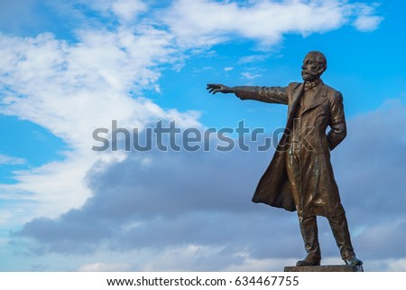 Professor William Smith Clark statue, Sapporo,Hokkaido, Japan - April 10, 2017 : He is President of the Sapporo Agricultural College in 1876-1877.