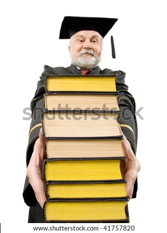 Professor with stack books on white background (isolated). - stock photo