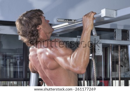 Profile and rear torso of muscular shirtless male Caucasian athlete performing pullups in gym - stock photo
