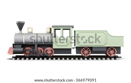 Profile antique locomotive with wagon isolated on white background. 3d rendering.