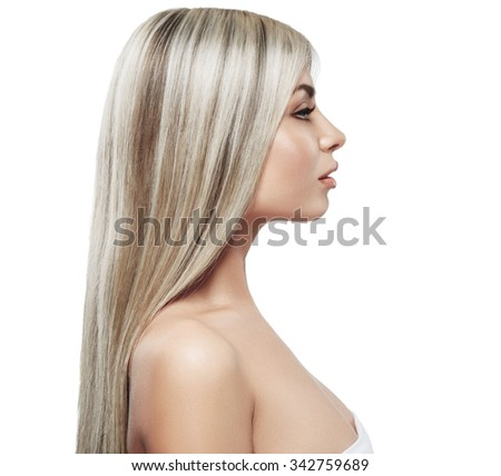 Profile Beautiful woman blonde hair portrait close up studio on white long hair - stock photo