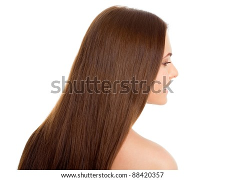 Profile beautiful woman with long brown hair, isolated on white background