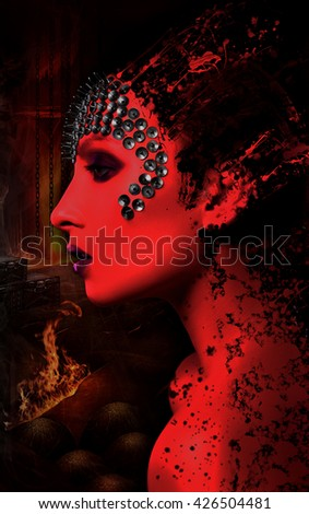 Profile close-up portrait of a beautiful girl with spikes on his head on a black background. Angel and demon - stock photo