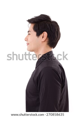 profile face side portrait of happy, smiling asian man - stock photo