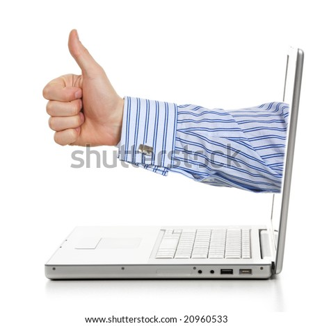 Profile hand success sign through a laptop. Isolated on a white background. - stock photo