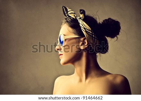 Profile of a beautiful woman - stock photo