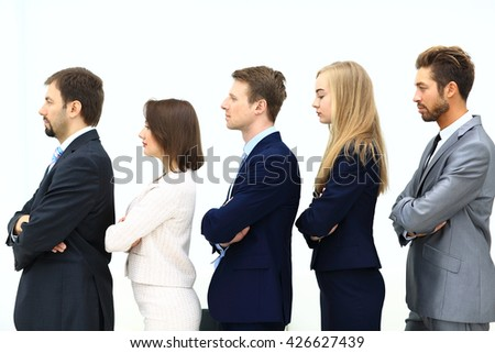 Profile of a business team in a single line - stock photo