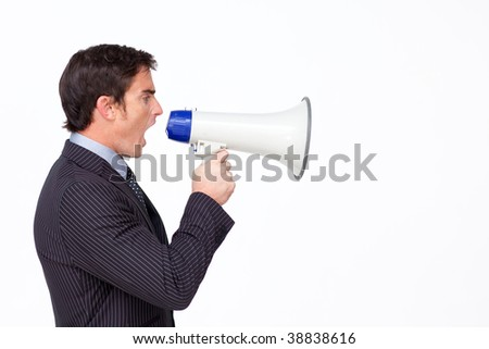 Profile of a businessman shouting through a megaphone against white - stock photo