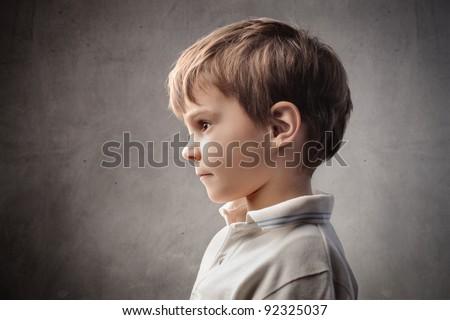 Profile of a child - stock photo