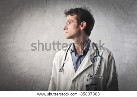 Profile of a doctor - stock photo