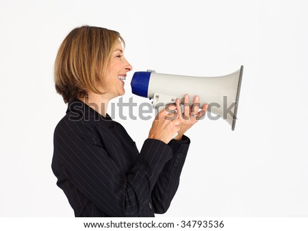 Profile of a friendly businesswoman speaking through a megaphone