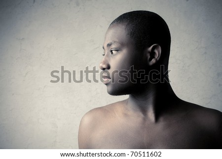 Profile of a handsome african man - stock photo