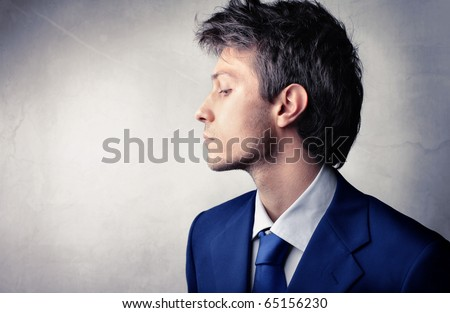 Profile of a handsome businessman - stock photo