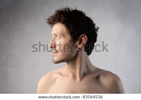 Profile of a handsome man - stock photo