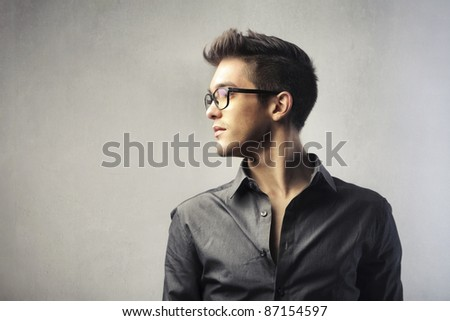Profile of a handsome young man - stock photo