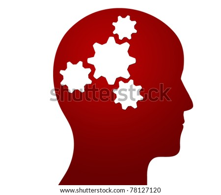 Profile of a head containing cogs illustrating a thought process