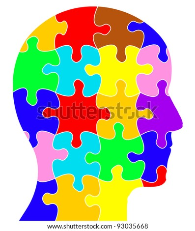 Profile of a head containing coloured jigsaw/puzzle pieces - stock photo