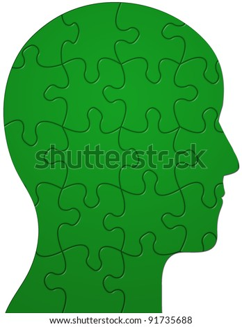 Profile of a head showing jigsaw/puzzle pieces - stock photo
