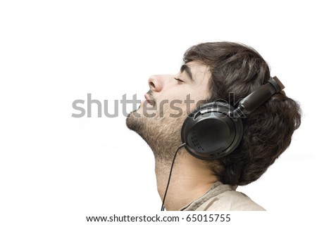 Profile of a man with ear-phones isolated on white.