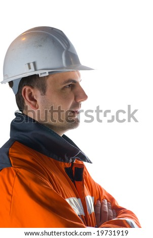 Profile of a miner isolated on white stock photo