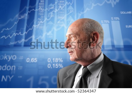 Profile of a senior businessman with exchange graphics on the background - stock photo