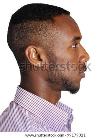 Profile of a teenage african-american teenager - stock photo