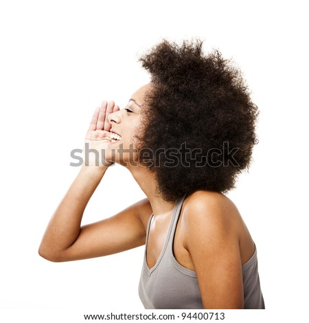 Profile of a young Afro-American woman calling someone, isolated on white - stock photo