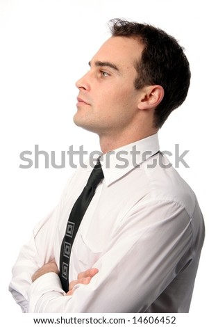 Profile of a  young business man in collar and tie on white background - stock photo