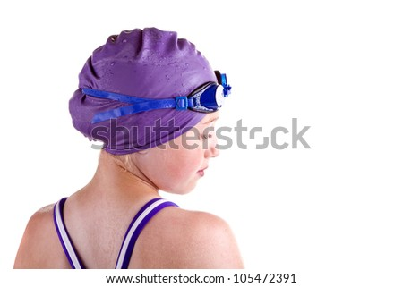 Profile of a young competitive swimmer, isolated on white - stock photo