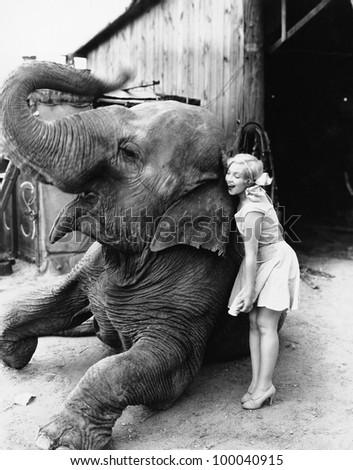 Profile of a young woman hugging an elephant - stock photo