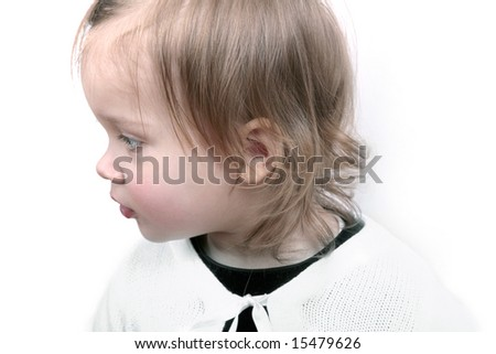Profile of adorable baby, isolated - stock photo