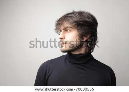 Profile of an attractive man - stock photo
