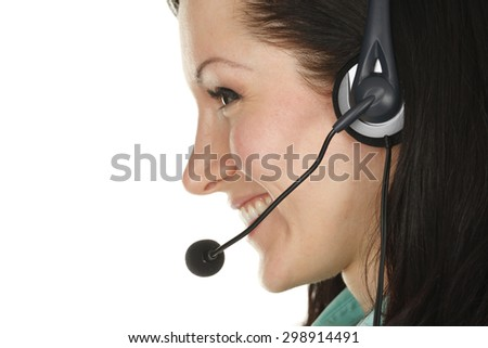 Profile of attractive young customer service representative.