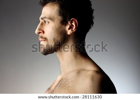 profile of bearded man - stock photo