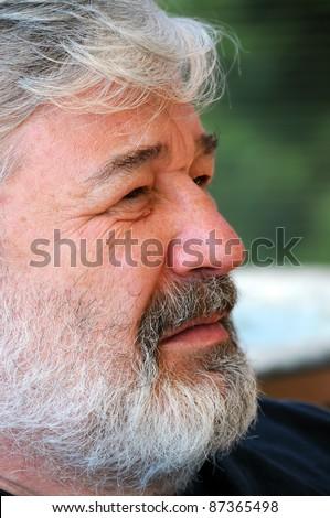 Profile of bearded senior man - stock photo