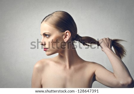 profile of beautiful woman - stock photo