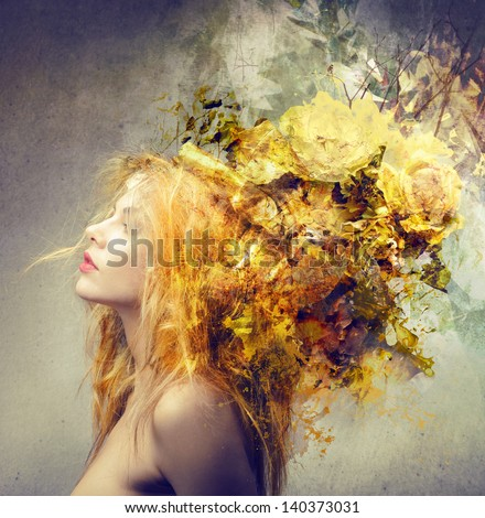 profile of blond woman with beautiful hairstyle - stock photo