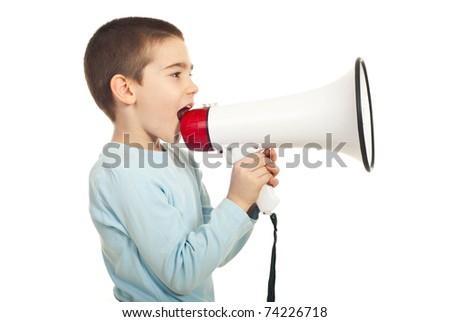 Profile of boy shouting into loudspeaker isolated on white background - stock photo