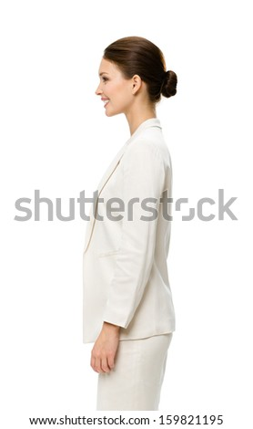 Profile of business woman, isolated on white. Concept of leadership and success - stock photo