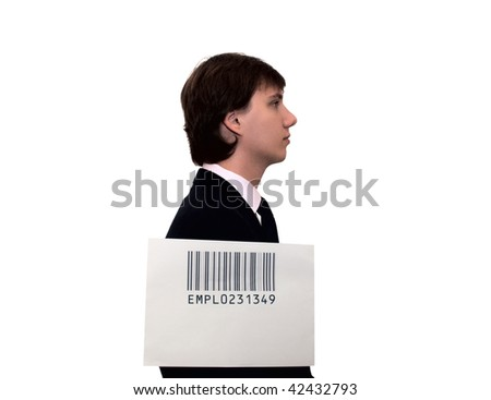 Profile of businessman with barcode, isolated on white. Humor concept - stock photo