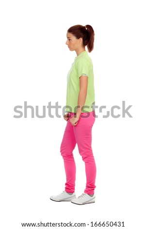 Profile of casual girl with pink jeans isolated on white background - stock photo