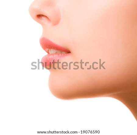Profile of feminine face - stock photo