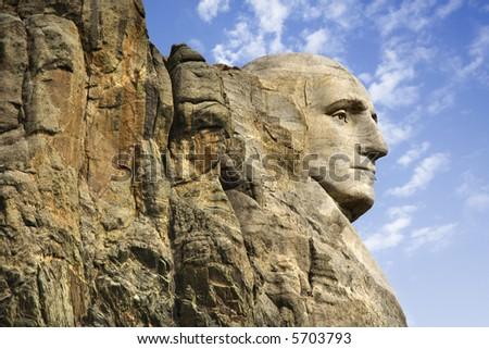 Profile of George Washington carving at Mount Rushmore National Monument, South Dakota. - stock photo