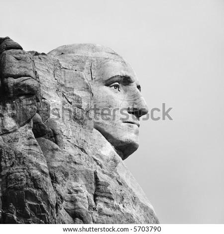 Profile of George Washington carving at Mount Rushmore, South Dakota. - stock photo