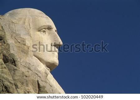 Profile of George Washington from Mount Rushmore - stock photo