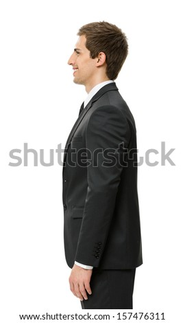 Profile of good-looking businessman, isolated on white. Concept of leadership and success - stock photo