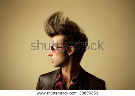 profile of guy with big tuft - stock photo