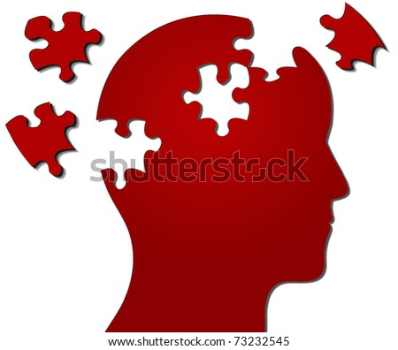 Profile of head with jigsaw pieces missing - stock photo