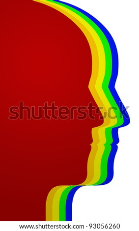 Profile of heads - stock photo